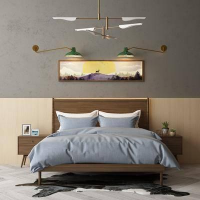北欧双人床组合, 双人床, 床头柜, 壁灯, 挂画