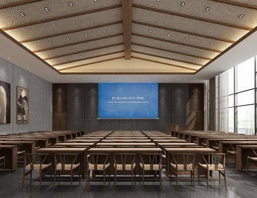 会议室, 桌椅, 单人椅, 装饰画, 挂画, 会议桌, 新中式
