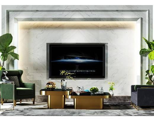 电视墙, 背景墙, 电视背景墙, 茶几组合, 茶几, 沙发椅, 沙发凳, 盆景, 植物, 现代, 后现代