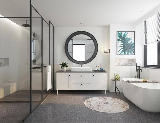 衛生間, 洗手臺組合, 浴缸, 花灑組合, 北歐