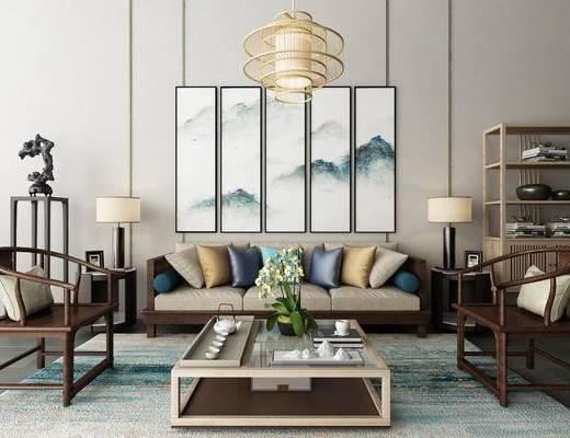 新中式, 沙发组合, 多人沙发, 单椅, 椅子, 茶几, 边几, 茶具, 台灯, 吊灯, 装饰柜, 置物柜, 陈设品, 端景台