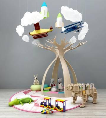 儿童玩具, 公仔, 儿童吊灯, 卡通玩具, 卡通装饰架, 动物书架, 装饰品摆件