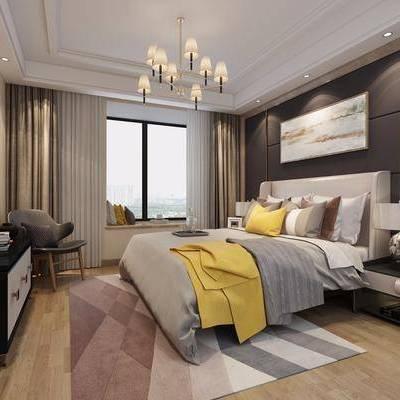 卧室, 双人床, 床头柜, 台灯, 装饰画, 吊灯, 电视柜, 边柜, 后现代, 双十一