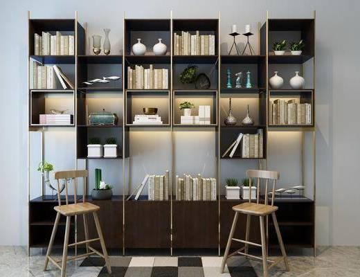 装饰柜架, 装饰柜, 书籍, 单椅
