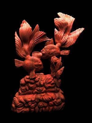 金鱼浮雕, 红木浮雕, 摆件, 装饰品, 工艺品, 中式