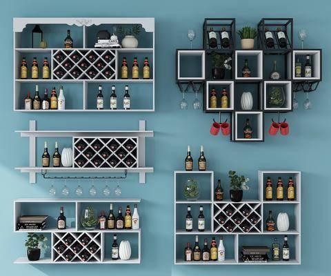 酒柜酒架, 紅酒, 裝飾架, 高腳杯, 酒杯, 擺件組合, 水杯, 置物架, 現代