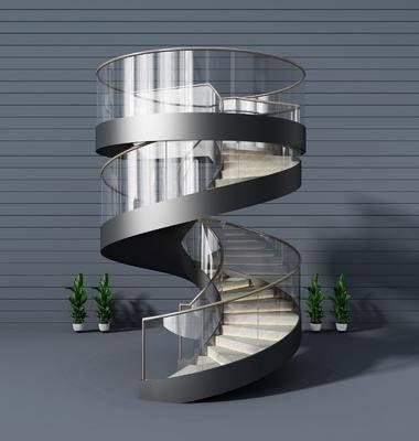 現代旋轉樓梯3d模型, 旋轉樓梯