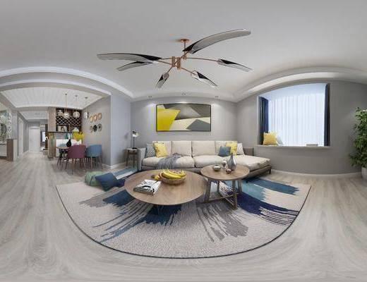 北欧客厅, 北欧沙发, 沙发组合, 吊灯, 沙发茶几组合, 茶几