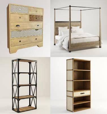 装饰柜架, 柜架组合, 边柜, 单人床