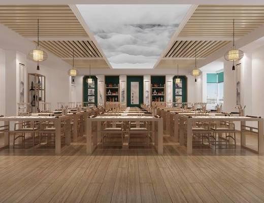新中式教室, 书法桌椅, 吊灯, 博古架, 装饰画, 字画