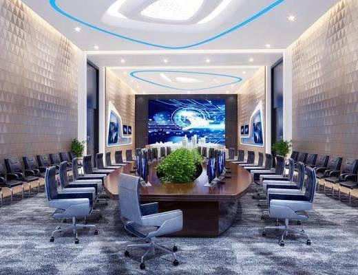 现代会议室, 现代监控室, 现代办公桌, 现代办公椅, 桌椅组合, 植物, 电脑, 显示屏