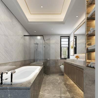 新中式卫生间, 浴池, 洗手台, 置物架, 新中式