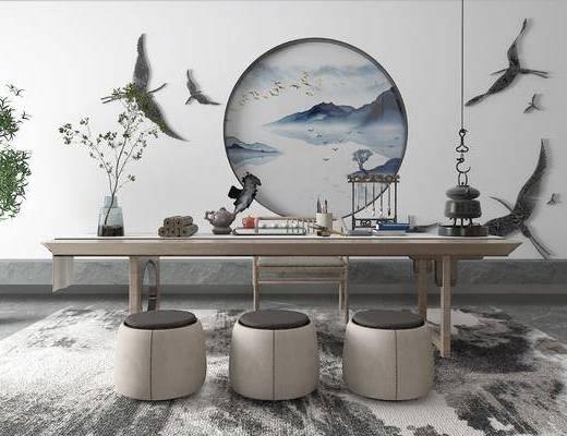 盆景, 桌椅组合, 摆件组合, 植物, 墙饰