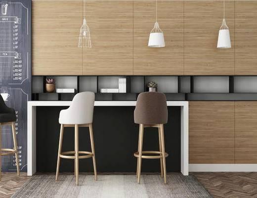 吧台, 吊灯, 吧椅, 黑板, 北欧