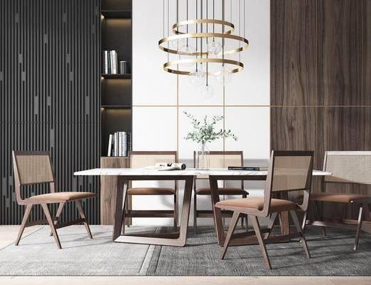 餐厅, 餐桌, 桌椅组合, 花瓶, 吊灯