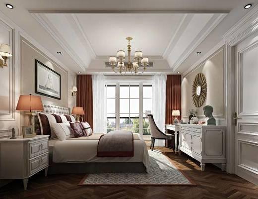 简欧, 简欧卧室, 欧式床头柜, 欧式床, 欧式吊灯, 欧式壁灯