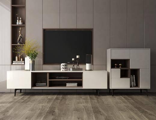 电视柜, 边柜, 摆件, 装饰品, 陈设品, 现代