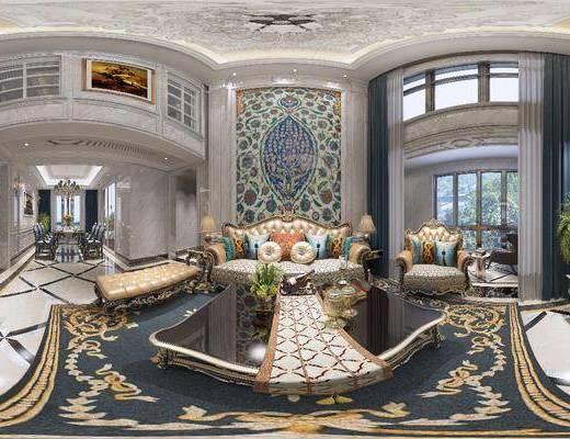 欧式客厅, 客厅, 餐厅, 餐桌椅, 沙发组合
