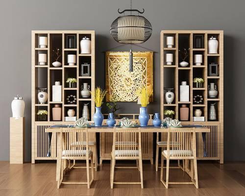 新中式茶室, 新中式, 茶桌, 椅子, 装饰柜, 中式吊灯, 中式摆件