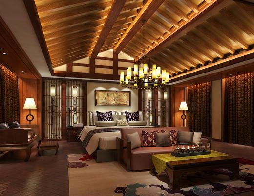 东南亚风, 酒店客房, 双人床