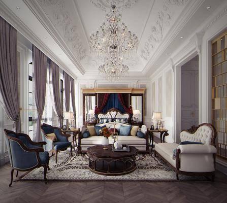 卧室, 多人沙发, 双人床, 茶几, 单人沙发, 边几, 台灯, 双人沙发, 床头柜, 水晶吊灯, 吊灯, 法式