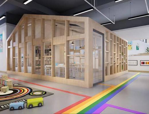 美术室, 幼儿园, 大厅走道, 小木屋, 教室, 装饰柜, 桌子, 椅子, 吊灯, 装饰品, 陈设品, 洗手台, 现代