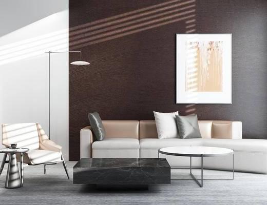 客厅, 沙发, 茶几, 椅子, 抱枕, 落地灯