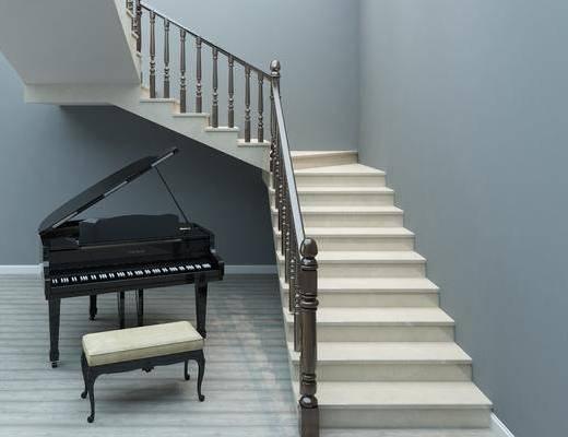 实木扶手, U型楼梯, 楼梯, 钢琴, 凳子, 现代