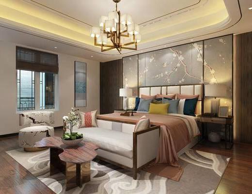 卧室, 吊灯, 沙发组合, 中式, 新中式, 中式卧室
