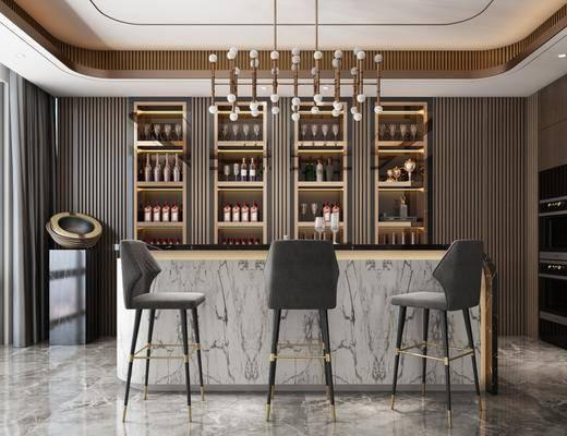 现代吧台, 酒柜, 冰箱, 吧椅, 水晶吊灯