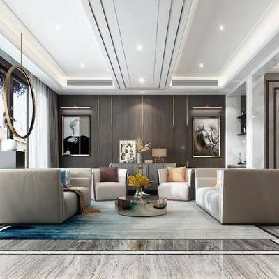 现代客厅, 会客厅, 现代沙发, 沙发组合, 沙发茶几组合
