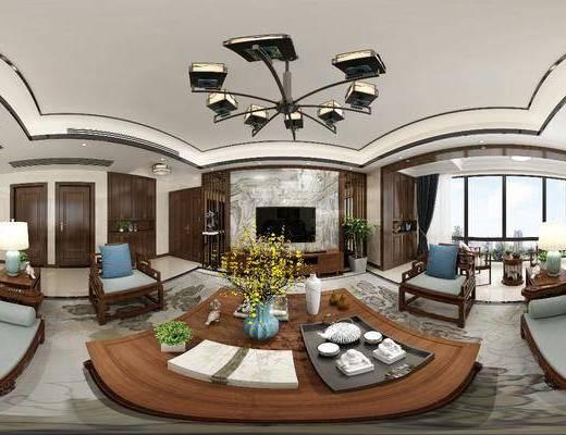 中式客廳, 客廳, 沙發組合