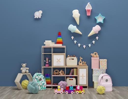 现代儿童玩具, 边柜, 书包, 冰淇淋, 摆件