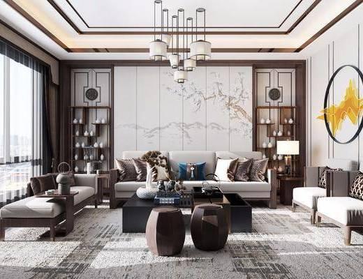 沙发组合, 茶几, 吊灯, 墙饰, 摆件组合, 置物柜