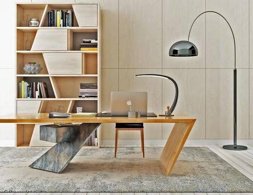 电脑桌, 桌椅组合, 书柜, 书架