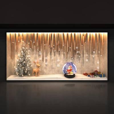 橱窗, 圣诞, 水晶球, 圣诞树, 雪花, 鹿, 礼盒