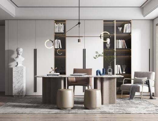书桌, 吊灯, 书柜, 书籍, 装饰品, 单椅, 窗帘