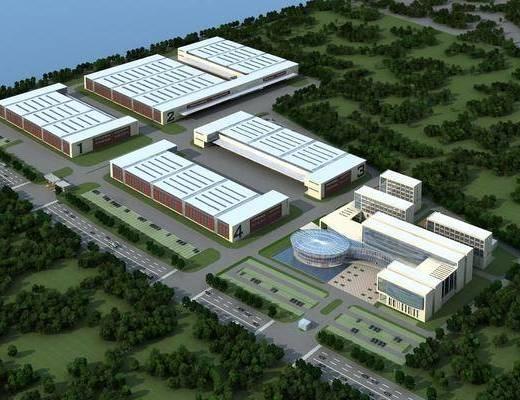 工厂厂房, 树木, 绿植植物, 现代
