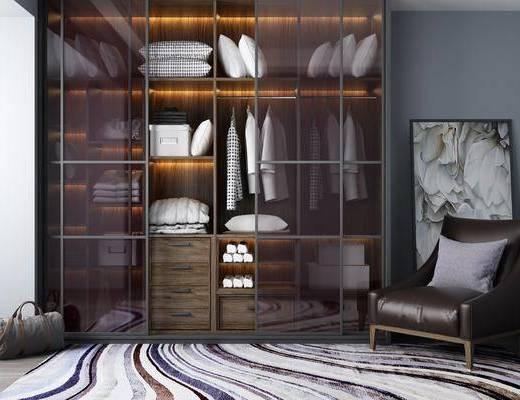 衣柜, 衣服, 现代衣柜, 枕头, 单椅, 椅子, 挂画, 装饰画, 现代