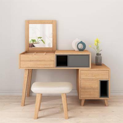 实木梳妆台, 梳妆凳, 化妆台, 凳子, 装饰品, 摆件, 北欧