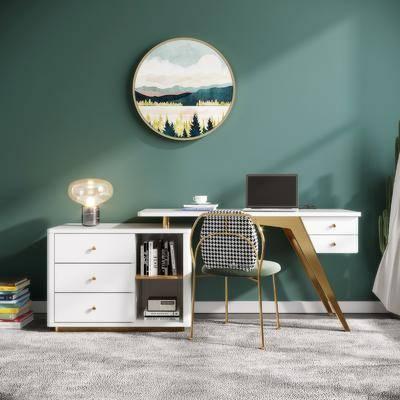 桌椅组合, 墙饰, 台灯