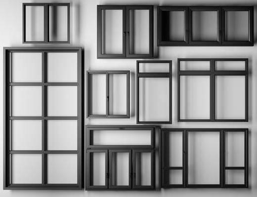 现代, 铝合金, 铝合金窗, 五金, 构件, 平开窗, 工业风