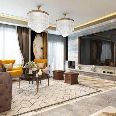 现代客厅, 现代餐厅, 后现代, 客餐厅, 沙发组合, 沙发茶几组合, 餐桌椅, 桌椅组合