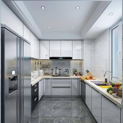 厨房, 厨具, 洗手台, 水果, 冰箱, 现代