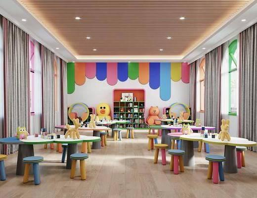 现代, 教室, 幼儿园, 工装