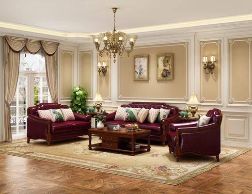 沙发组合, 茶几, 吊灯, 装饰画, 壁灯, 单椅