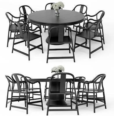新中式, 桌椅组合, 桌子, 椅子, 单椅, 中式