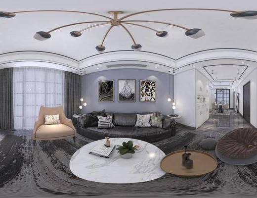 客厅餐厅, 现代客餐厅, 沙发组合, 沙发茶几组合, 单人沙发组合, 餐桌椅组合, 家装全景