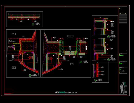 CAD, 工装会所施工图, 平面图, 立面图