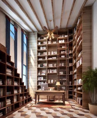 书房, 书柜, 装饰柜, 书籍, 绿植, 书桌, 单人椅, 台灯, 风扇灯, 后现代